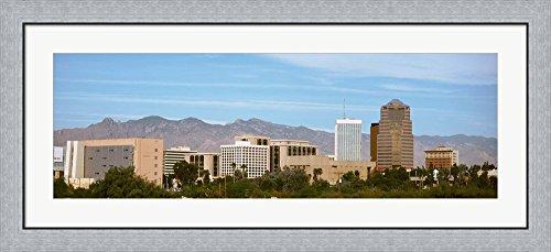 Tucson skyline, AZ by Panoramic Images Framed Art Print Wall Picture, Flat Silver Frame, 44 x 20 - Skyline Az Tucson