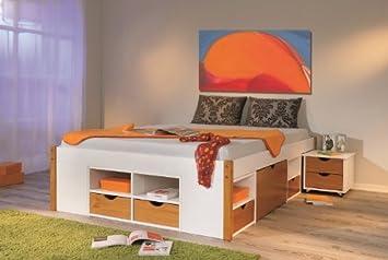Schlafzimmermobel Bett 140x200 Mit Stauraum Weiss Bernstein Jule