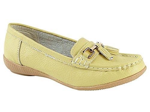 Foster Footwear - Mocasines de Piel para hombre Amarillo - verde lima