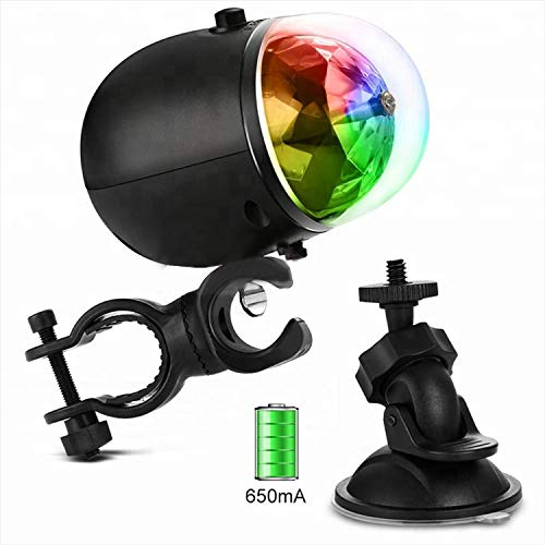 Meili Rechargeable Disco Party Lights for Bike/Car- Blinking Tri-Colored LED Bicycle Accessory Light for Fun ()