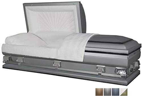 Titan Casket - Atlas XL Oversize Silver Steel Casket with White Crepe Interior