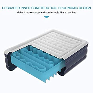 VICOODA Twin Air Mattress, Air Bed for Camping and Home Use, No Leak, Inflatable Single Airbed Blow up Guest Bed Camping Tent Mattress Pillow Rest Raised Airbed Built-in Pump, 18 Inch