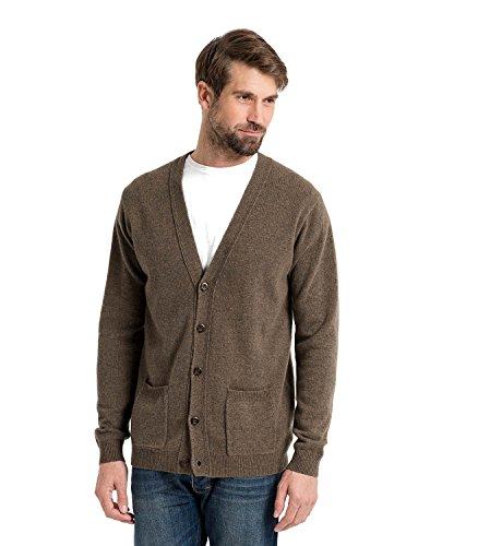 WoolOvers Strickjacke mit V-Ausschnitt aus Lammwolle für Herren Wooded, XXL