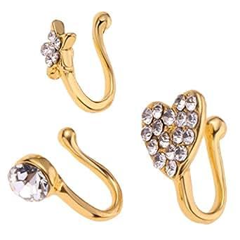 HOMYL 3 Pieces Girl Charm Flower Heart Pentagram Crystal Metal Women Nose Rings - Gold