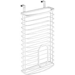 InterDesign Axis Over the Cabinet Kitchen Storage Holder for Plastic and Garbage Bags - White