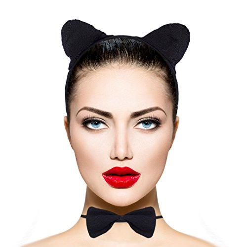 Lux Accessories Black Cat Kitty Ear Headband Halloween Costume Accessory Set 3PC (Cat Headband For Halloween)