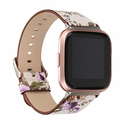 YJYdada With Connector Printing Leather Accessories Watch Strap For FITBIT VERSA (B)