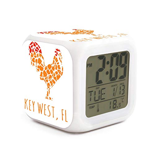Hotqq Key west Island Florida Rooster Funny 7 LED Color Change Digital Thermometer Alarm Clock with LCD Display Cube Night Light for Kids (Rouge Burlington Baton La)