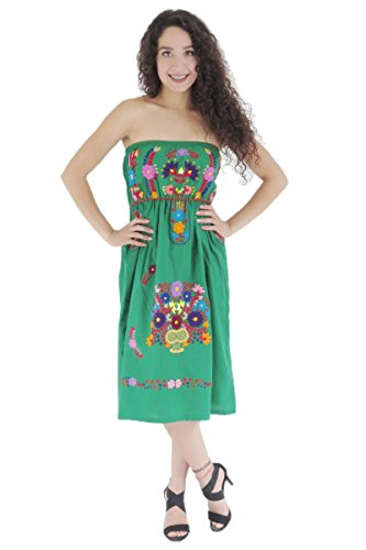 Womens Mexican Dress Strapless Puebla Poplin one Size Green 6953 (Strapless Poplin)