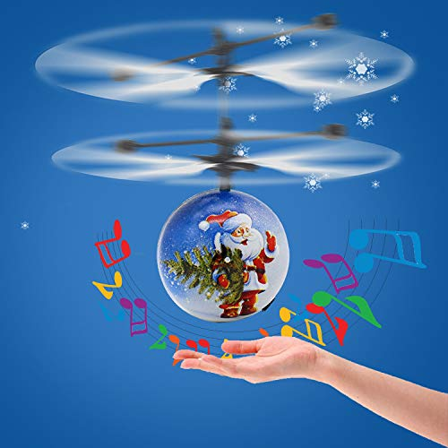 RC Light Up Flying Helicopter Ball with Music Toy for Kids Boys Girls, Controlled by Hand Easy to Play Ideal Xmas Party