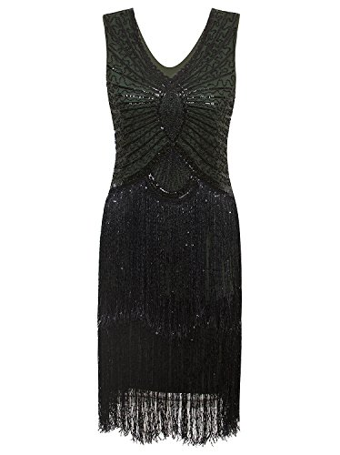 Vijiv 1920s Style Inspired Charleston Sequin Layer Tassel Cocktail Flapper Dress, Green, -