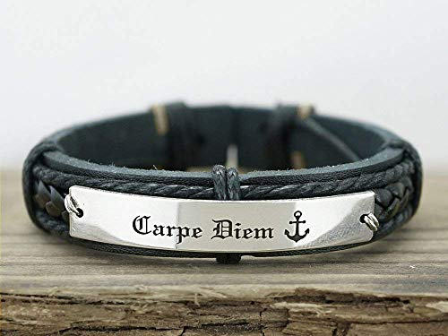 Carpe Diem Bracelet, Inspirational Jewelry for Him, Latin Phrases, Anchor Charm Engraved, Silver and Black Leather Cuff