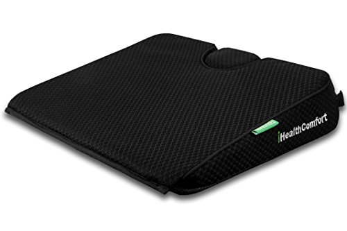 iHealthComfort Potable Wedge Seat Cushion Memory Foam Wellness Orthopedic Cushion