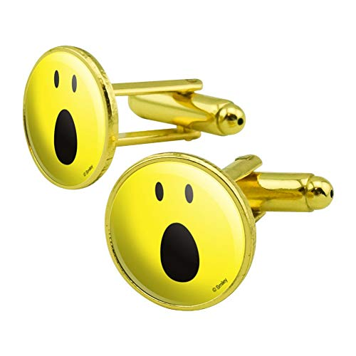 (GRAPHICS & MORE Smiley OMG Surprised Shocked Yellow Face Round Cufflink Set Gold Color)
