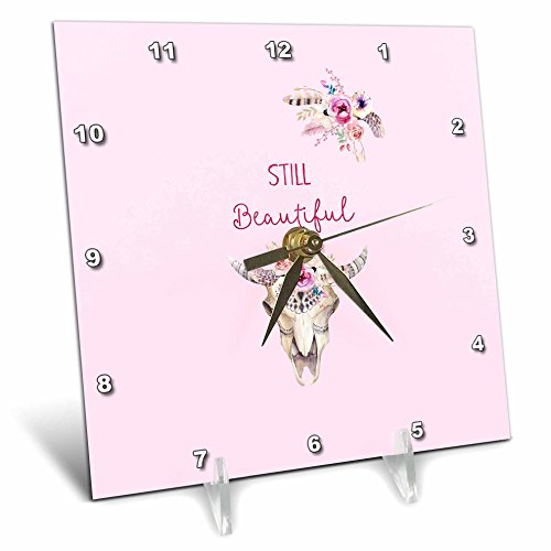 3dRose Uta Naumann Watercolor Illustration - Still Beautiful - Watercolor Animal Antlers Deer Floral Illustration - 6x6 Desk Clock (dc_267105_1) by 3dRose