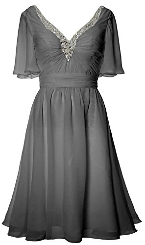 Mother Bride Sleeves Dress Women Grau Evening Neck V Formal of Short MACloth Gown qwntOfFf
