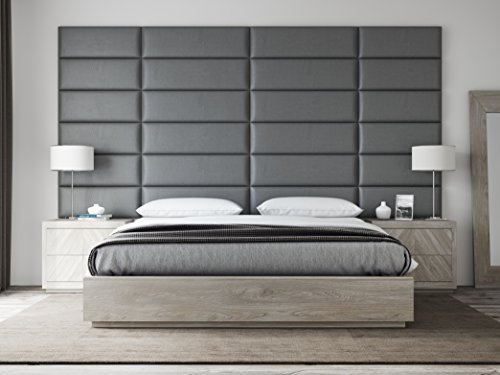 Read About VANT Upholstered Headboards - Accent Wall Panels - Packs Of 4 - Vitage Leather Gray Pewte...