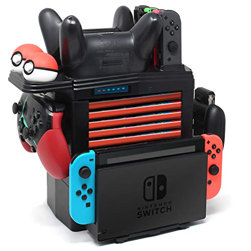 Switch Storing & Charging Stand for Nintendo Switch Pro Controller, Joycon, Pokémon Balls, and Game Cards, Multifunctional Detachable Station Dock Storage for Nintendo Switch Console with 1 USB Type-C (Playground Games 100)