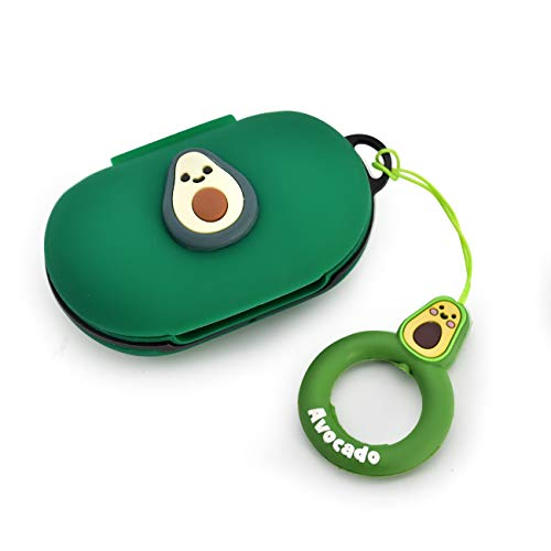 Newseego Compatible with Galaxy Buds(2019) Case, Galaxy Buds+ Plus (2020) Cover Cute 3D Soft Case with Ring Buckle Keychain Galaxy Buds Case-Avocado