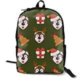 Zx7CAp3 Husky Dog in Christmas Hat and Gift Box Endless Laptop Backpack Travel Computer Backpack School Book Backpack