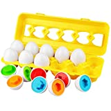Dreampark Toddler Eggs Toys, Learning Educational Color Matching Eggs Set Shape Recognition Toys for Kids Boy Girls 1 2 3 Year Old (12 Eggs)