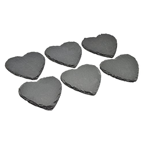 Argon Tableware Heart Shape Natural Slate Drinks Coasters - Set Of 6 - Slate Heart
