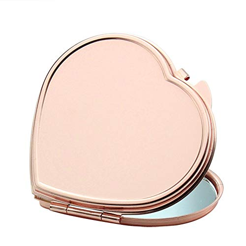 Portable Purse Mirror Rose Golden Makeup Compact Mirror Folding Pocket Mirror for Traveling, Camping-Heart Shape ()