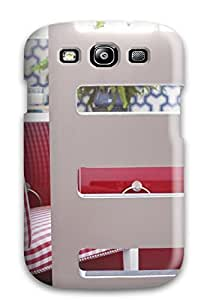 Cute High Quality Galaxy S3 White Ladder Divider And Red Plaid Patterned Chair Case