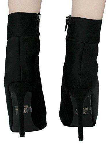 Jjf Zapatos Mujeres Social Lycra Lace Up Pointy Toe Side Zip Stiletto Botines De Tacón Alto Negro