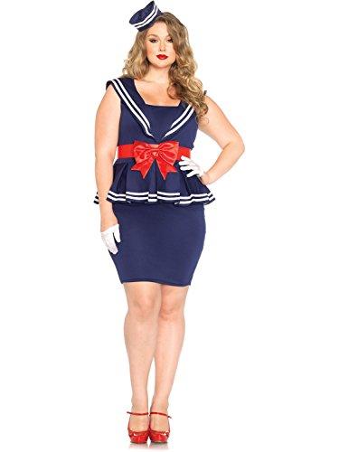 Leg Avenue Women's Plus-Size 3 Piece Aye Aye Amy Sailor Costume, Blue, (Plus Size Sailor Costumes)