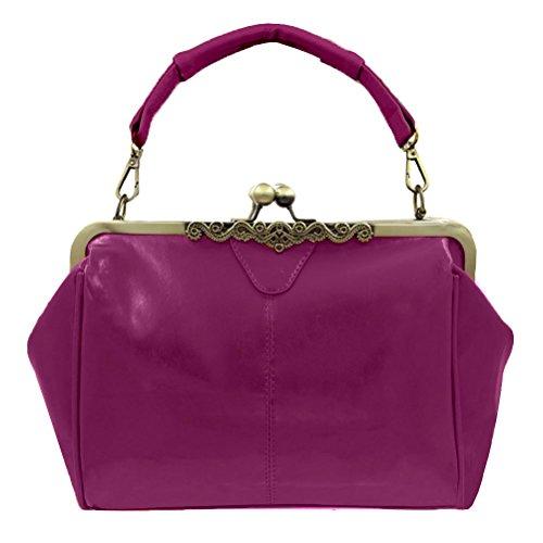 Retro Leather Bag Handnbag Handbag Minimalist Lock Abuyall M Imitation Purse Kiss Totes Shoulder Vintage Satchel Bag Women 5H6AWq0