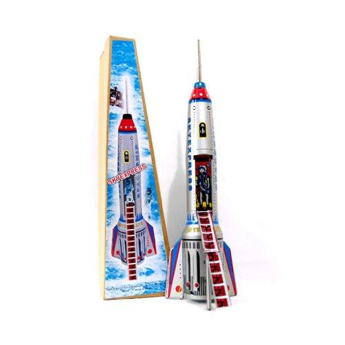 Small Toy Tin - Alexander Taron Importer Friction Driven Tin Rocket ship Collectible