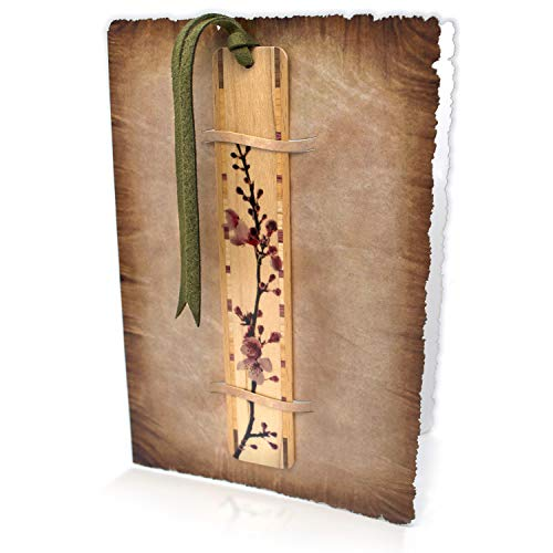 Blossom Bookmark - Solid Wood Cherry Blossom Bookmark with Blank Card - A Fun Gift and Card All-in-One