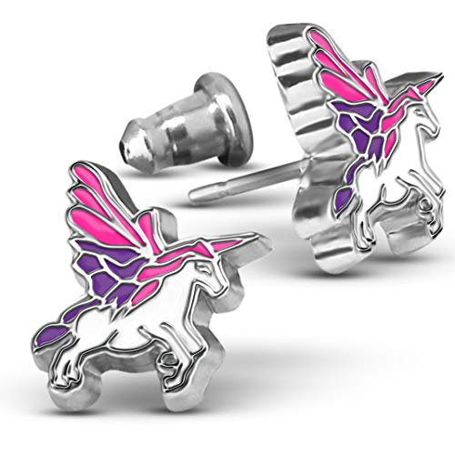 Flying Unicorn Stud Earrings - Horse Jewelry For Women and Teens, Hand Painted Stainless Steel Earrings ()