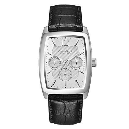 Caravelle New York Men's Quartz Stainless Steel and Leather Casual Watch, Color:Black (Model: 43C116)
