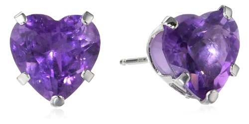 14k White Gold Genuine Birthstone Jewelry Amethyst Heart Stud Earrings