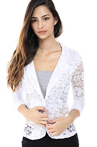 Fashion Magazine Womens One Button Office Knit Blazer Jacket,Made in USA  Whitelace,X-Large -