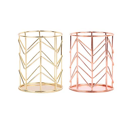 Sinardo Home Office Round Wire Metal Table Desktop Counter Stationery Pen Pencil Cup Make Up Brush Container Toothbrush Organizer Holder (Round,Gold+Rose Gold) ()