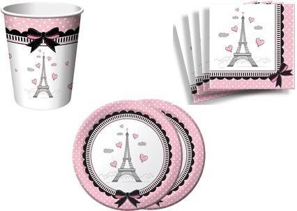 Party in Paris Party Supplies Set Plates Napkins Cups Kit for 16 by Creative - Dessert Paris Plate