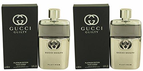 Gúcci Gúilty Plàtinum Côlogne For Men 3 oz Eau De Toilette Spray + a FREE 2.6 oz Deodorant Stick (PACKAGE OF - Gucci Men 2