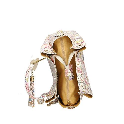 Sac Italy Fleurs in véritable Fantaisie à cuir femme 33x30x13 1 Made en main Aren Cm dSnzY8d