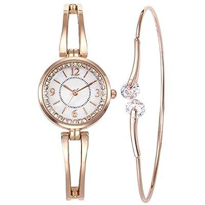 Souarts Women's Rhinestone Round Quartz Watch Simple Bangle Bracelet Jewelry Set Rose Gold Color