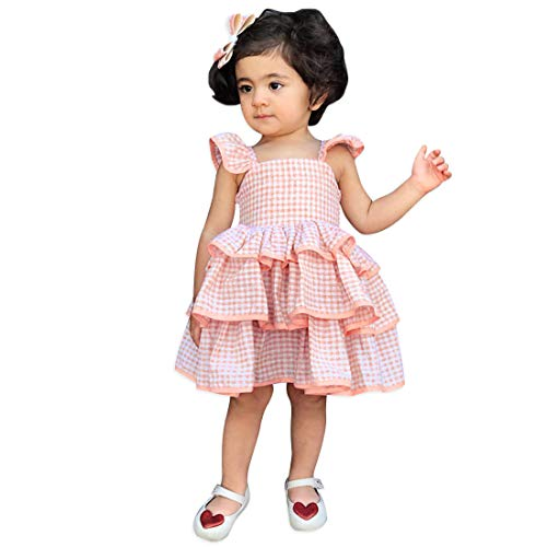 (Baby Girls Dress Ruffle Flying Sleeve Pink Plaid Tiered Backless Summer Dresses 120 )