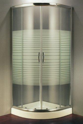 Cabina Doccia 90 X 90.Box Doccia In Cristallo Temperato Serigrafato 6 Mm Semicircolare