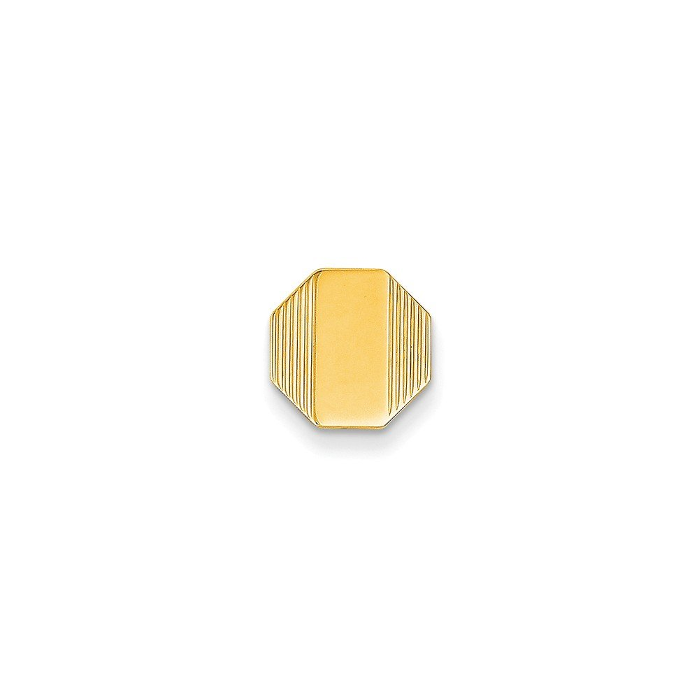 14k Yellow Gold Octaonal-Shaped Tie Tac with Detailed Edges