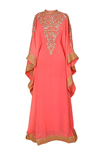 (Royal Bliss Kaftan For Women-Long Sleeve Maxi Dress, Gown Formal Lounge Wear (Coral), One Size )