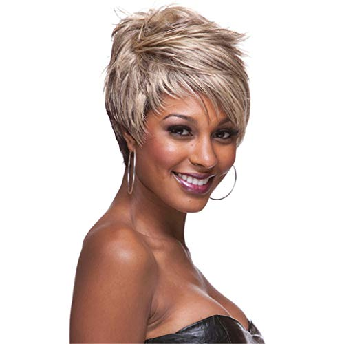 - RNTOP Short Black Pixie Cut Hair Natural Synthetic Wigs for Black Women Heat Resistant Black Wig Women's Fashion Wig (Brown)