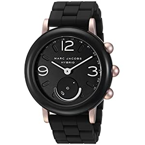 Marc Jacobs Women's Riley Aluminum and Silicone Hybrid Smartwatch, Color: Rose Gold-Tone, Black (Model: MJT1006)