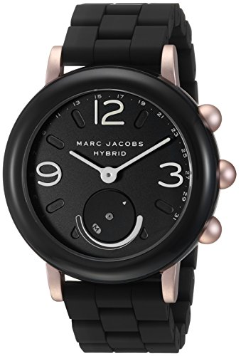 Marc Jacobs Women's Riley Aluminum and Silicone Hybrid Smartwatch, Color Rose Gold-Tone, Black (Model: MJT1006)