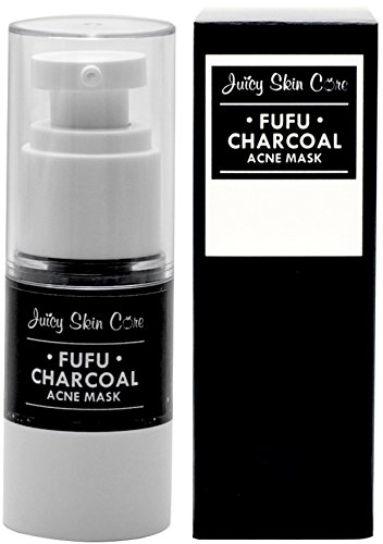 FU FU CHARCOAL ACNE MASK By Juicy Skin Care - Charcoal Face Mask Oxygen Instant Energizing Mask (0.5 oz) Charcoal Mask (Day Energizing Revitalizing Care)
